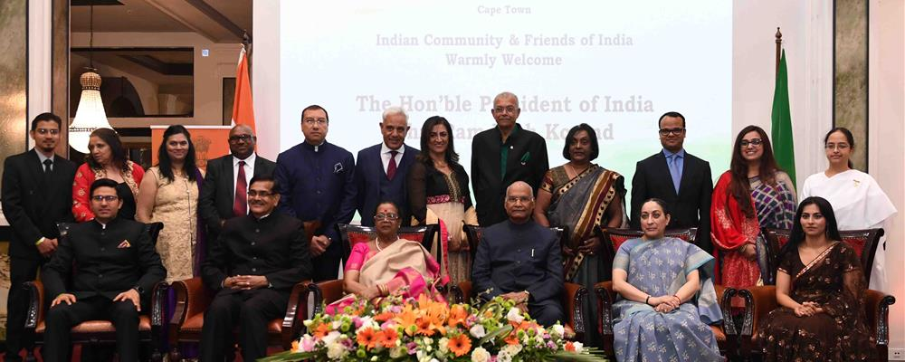The President of India, Shri Ram Nath Kovind in a group photograph at the Indian Community Reception at Hotel Taj Cape Town in the Republic of South Africa on April 02, 2019.