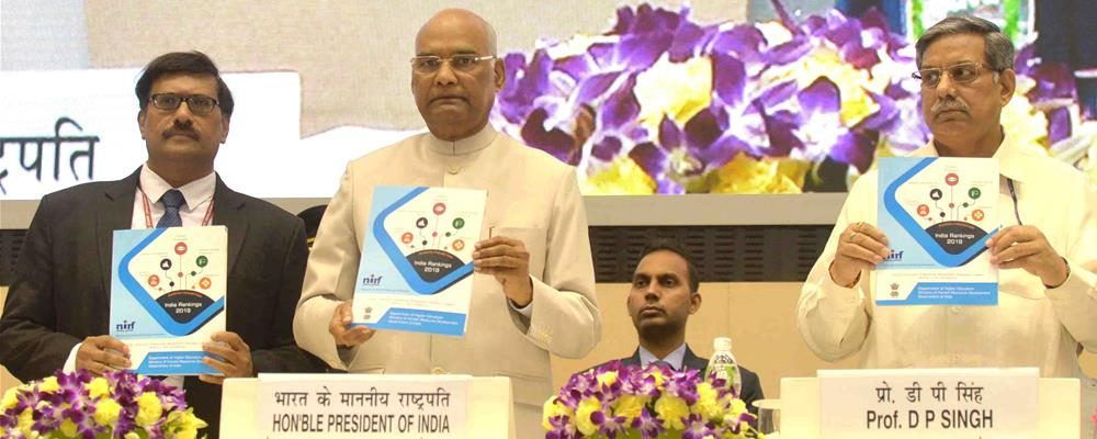 The President of India, Shri Ram Nath Kovind releasing the India Rankings-2019 and Atal Ranking of Institutions on Innovation Achievements (ARIIA) at Vigyan Bhavan in New Delhi on April 8, 2019.