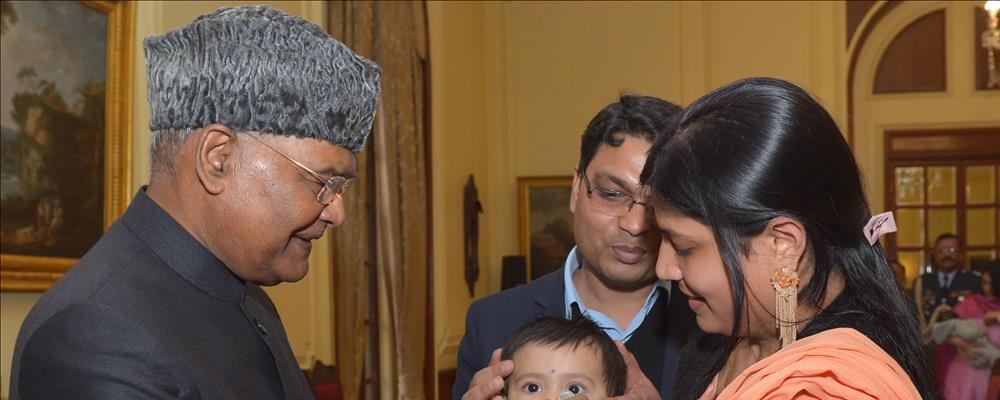 The President of India, Shri Ram Nath Kovind launching the Pulse Polio Programme by Administering Polio Drops to Children at Rashtrapati Bhavan on January 18, 2020.