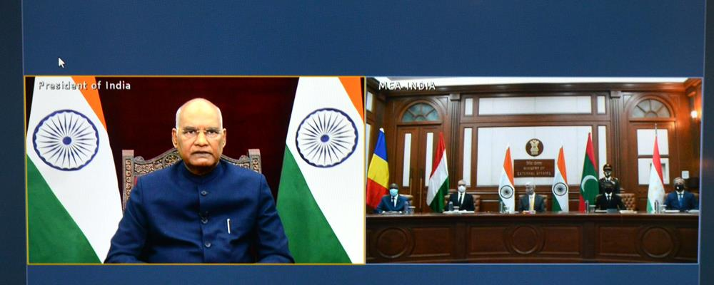 The President of India, Shri Ram Nath Kovind accepting credentials from Ambassador and High Commissioner from Hungary, Maldives, Chad and Tajikistan in a virtual ceremony at Rashtrapati Bhavan on November 20, 2020.